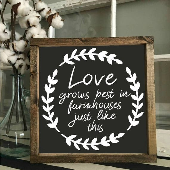 Love Grows Best | Wood Framed Sign | Rustic Decor | Farmhouse Style Decor | Handwritten Font | Gallery Wall | Wall Hanging