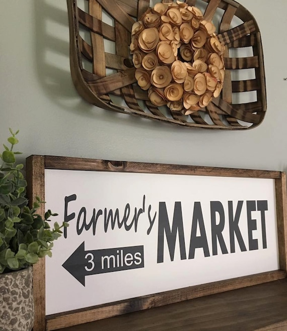 Farmers Market, Rustic Sign, Fixer Upper Style, Kitchen Decor, Farmhouse Style Decor, Arrow, Gallery Wall