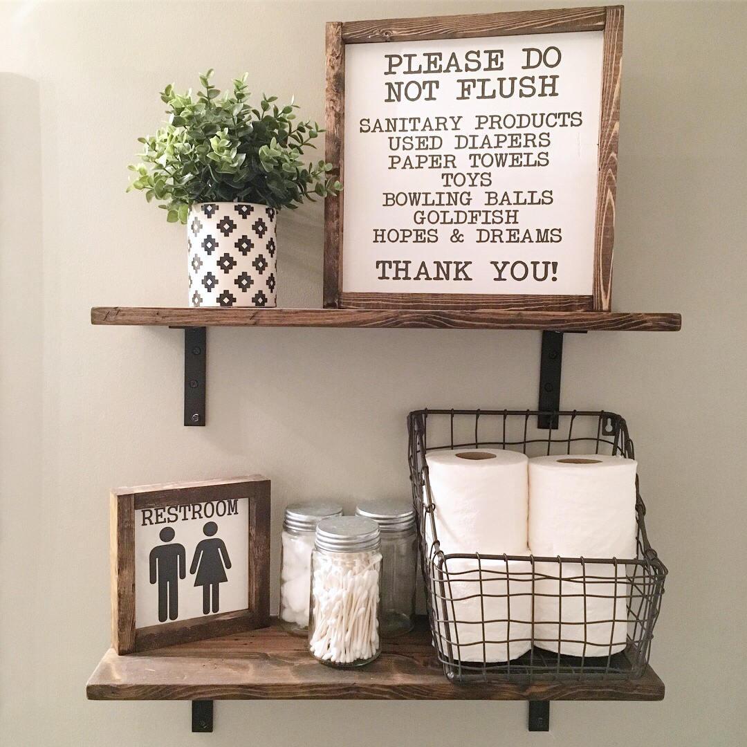 Top 10 Fixer Upper Bathrooms: Please Do Not Flush Wash Your Hands Bathroom Sign Wood