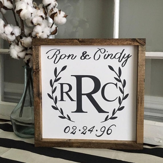 Monogram Wedding Date Sign, Anniversary Sign, Personalized Name, Custom Home Decor, Farmhouse Style Decor, Handwritten Font, Gallery Wall