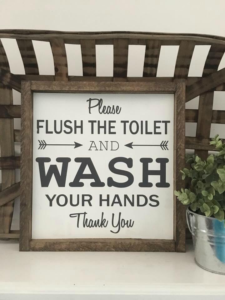 13x13 Original Please Flush The Toilet Wash Your Hands Bathroom Sign Wood Framed