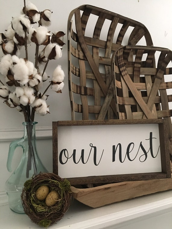 13x7 | Our Nest Sign | Custom Home Decor | Farmhouse Style Decor | Script Font