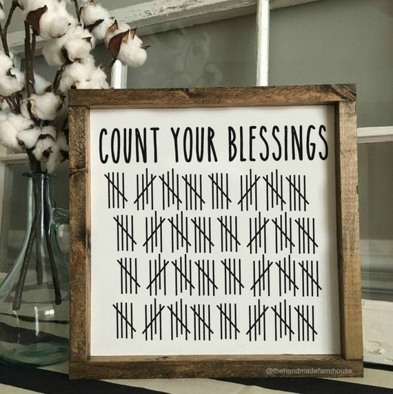 Count Your Blessings, Painted Sign, Family Sign, Wood Framed Sign, Rustic Decor, Farmhouse Style Decor, Handwritten Font, Gallery Wall