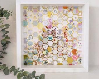 Unique Wedding / Birthday / Newborn Card Hexagon Collage Frame and Scrap Book