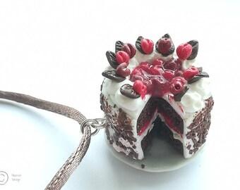 Cherry & Chocolate Gateau Cake Necklace