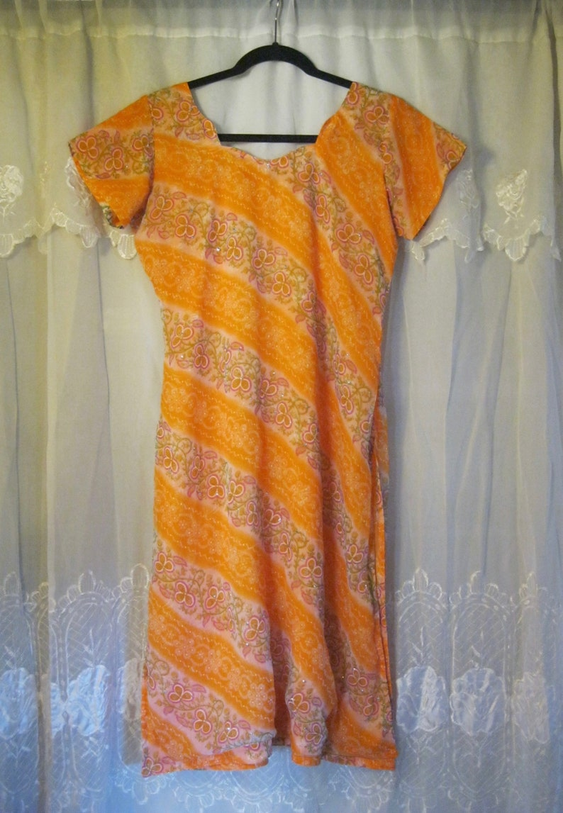 a88ab568ae Indian KURTA Summer Dress Chiffon Orange / Floral | Etsy