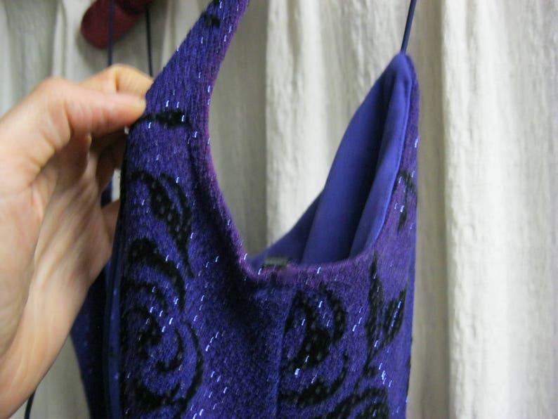 Spaghetti Strap Size 3 JODI KRISTOPHER Long Sparkly EveningCocktail Dress fits 46 Purple w Black Rose Print