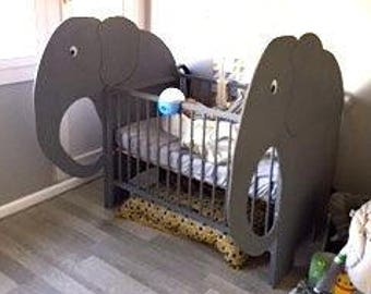Crib bed bb, Elephant, wood, adjustable cradle has two heights, handcrafted in France, custom bed, cradle bb wood,