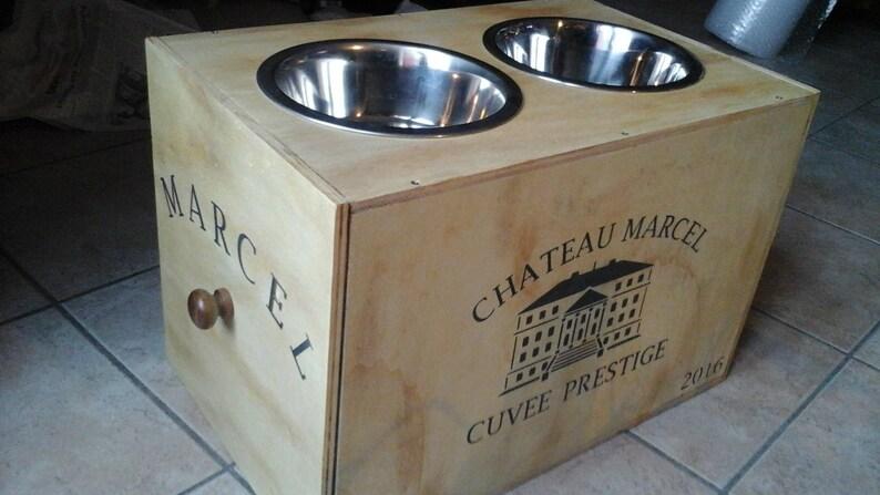 feeder food storage gift wood varnish medium to large dog unique OOAK Door bowls dog on a stump of wood