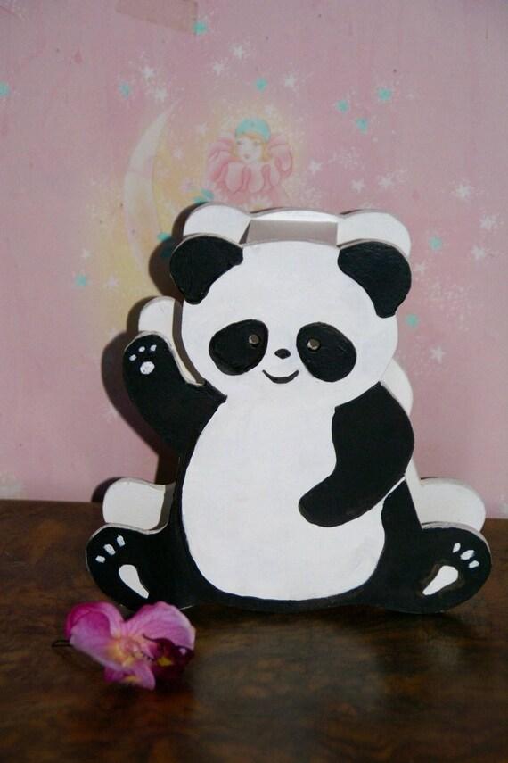 Lampe de chevet en bois, lampe bébé Petit Panda, personnalisable , noir et blanc, lampe enfant, artisan français, cadeau naissance bébé