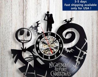 Nightmare Before Christmas Decor Vinyl Wall Clock Jack And Etsy
