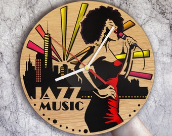 Jazz Gifts Wall Clock Art Party Musicians Music Decor Birthday Lover Gift Designs