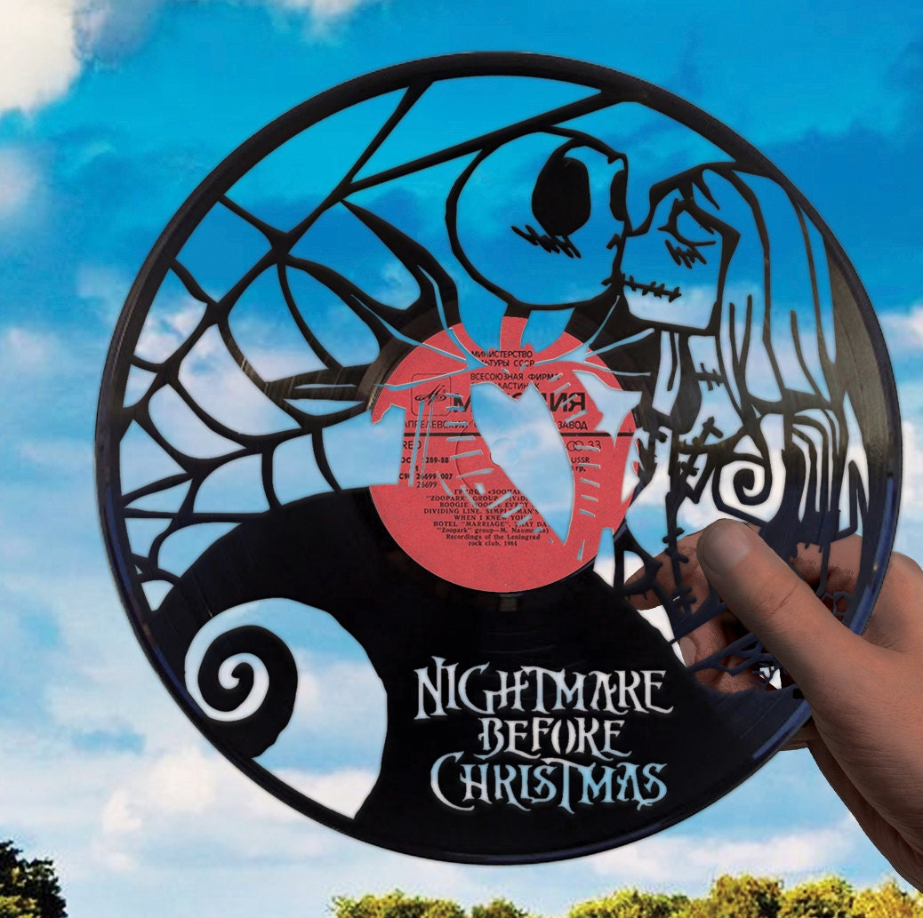 c40cf5bd1ec Nightmare before Christmas art made of vinyl record Jack Skellington  ornaments Tim Burton Halloween Jack and