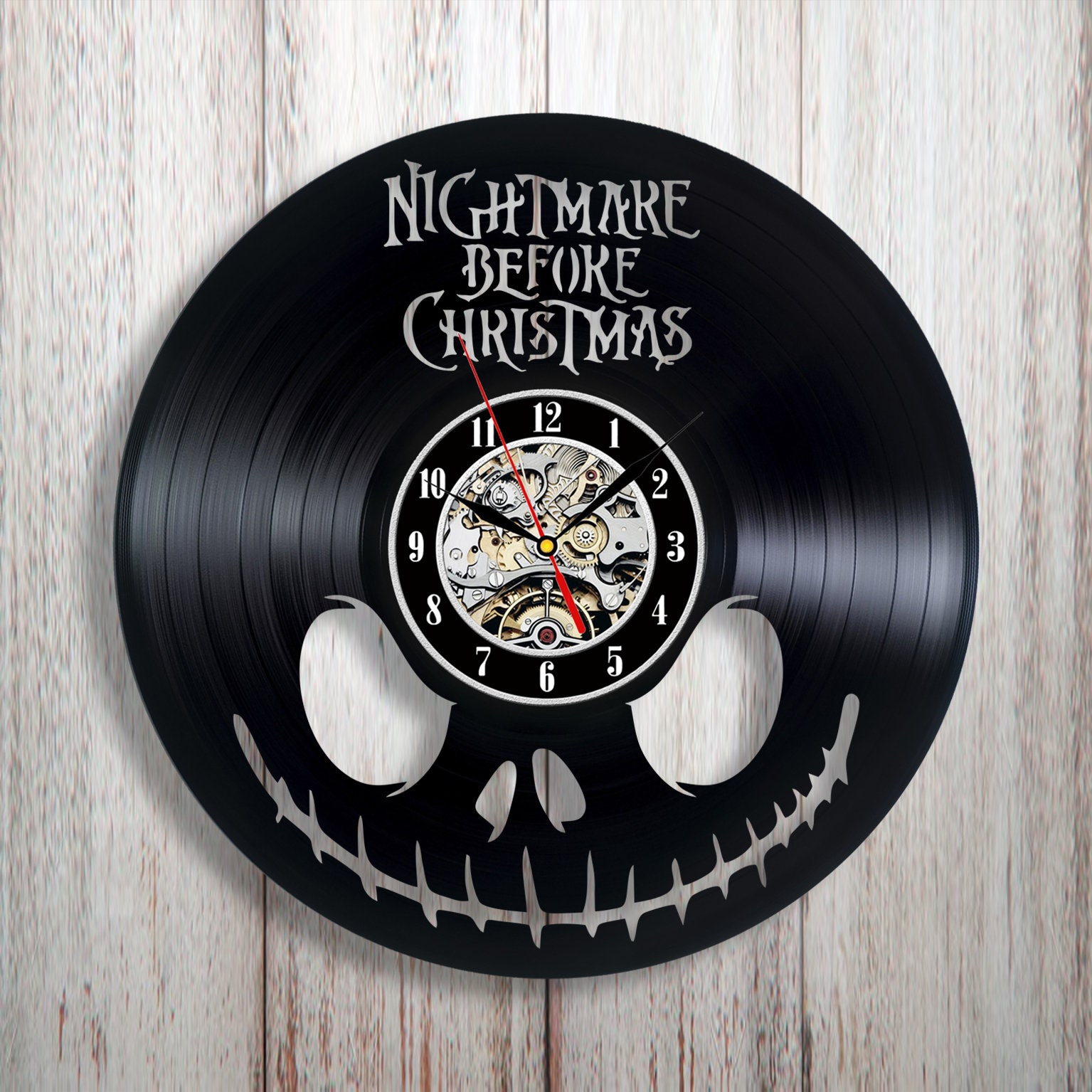 Nightmare Before Christmas Wall Clock Vinyl Wall Clock Nbc Fan Art Wall Decor Christmas Gift Idea Halloween Gift Gift For Kid Unique
