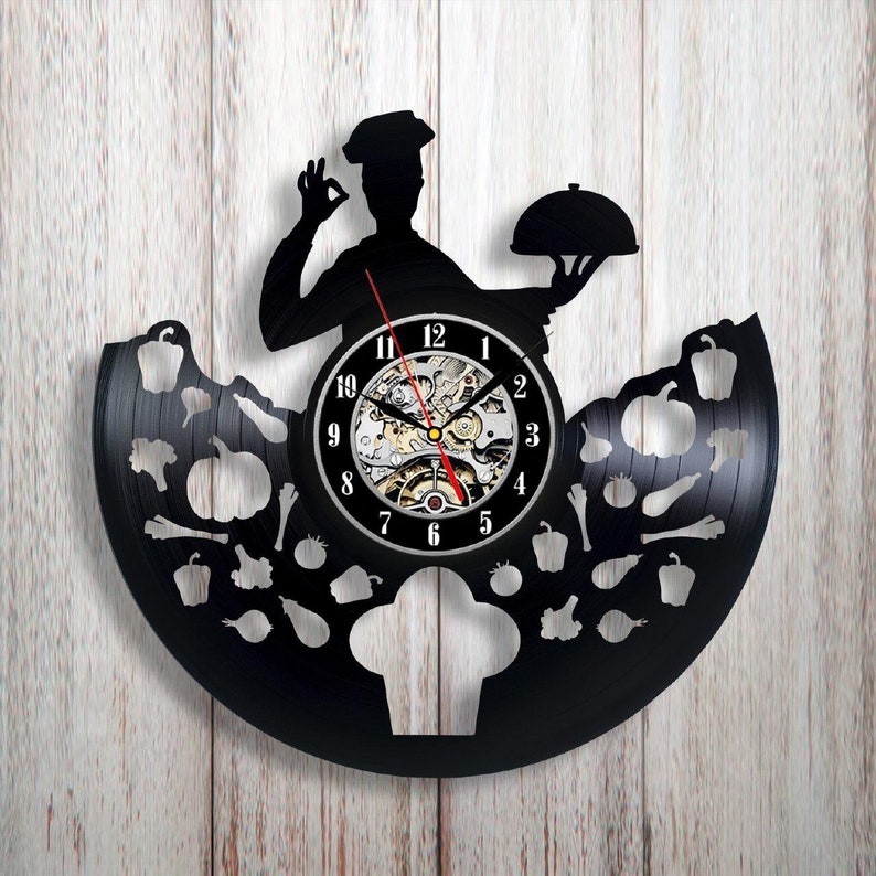 Outstanding Chef Kitchen Decor Cook Wall Clock Chef Birthday Chef Ts For Men Chef Wall Decor Chef Cookie Chef Decoration Vinyl Wall Clock Home Interior And Landscaping Transignezvosmurscom