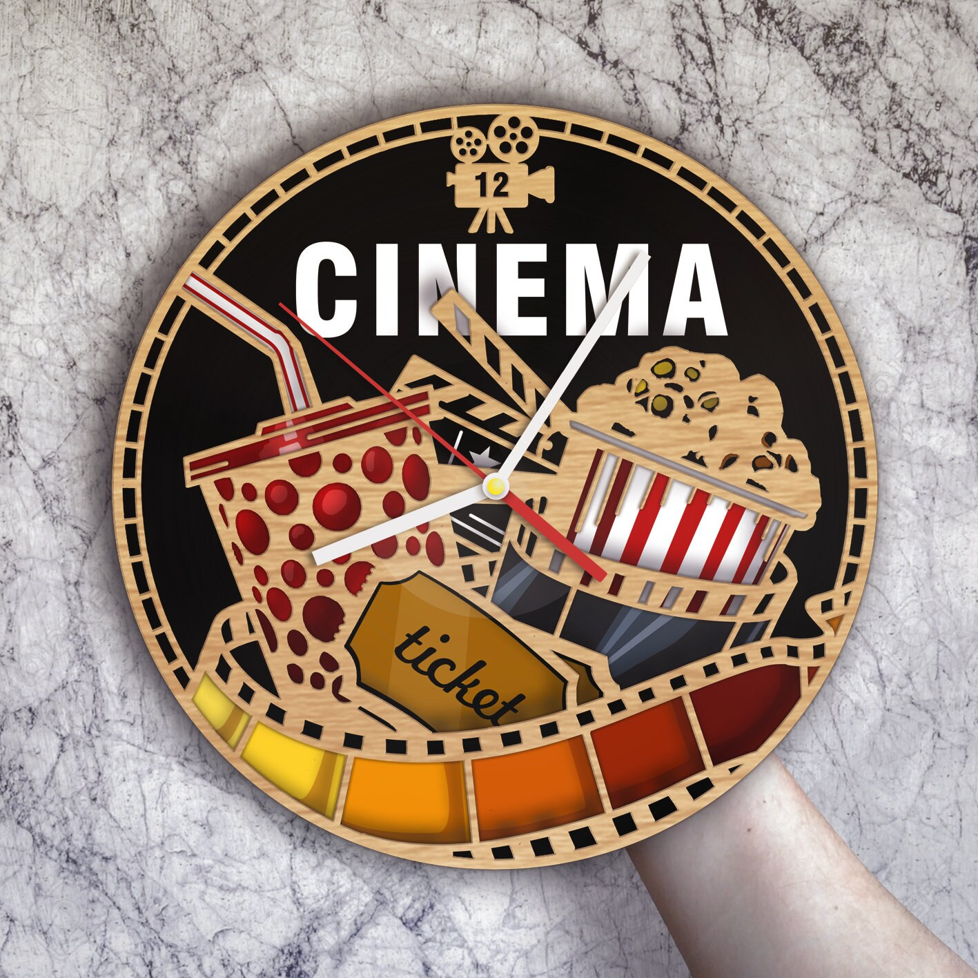 Cinema Art Movie Wall Clock Decor Home Gifts For Her Party Decorations Ornament