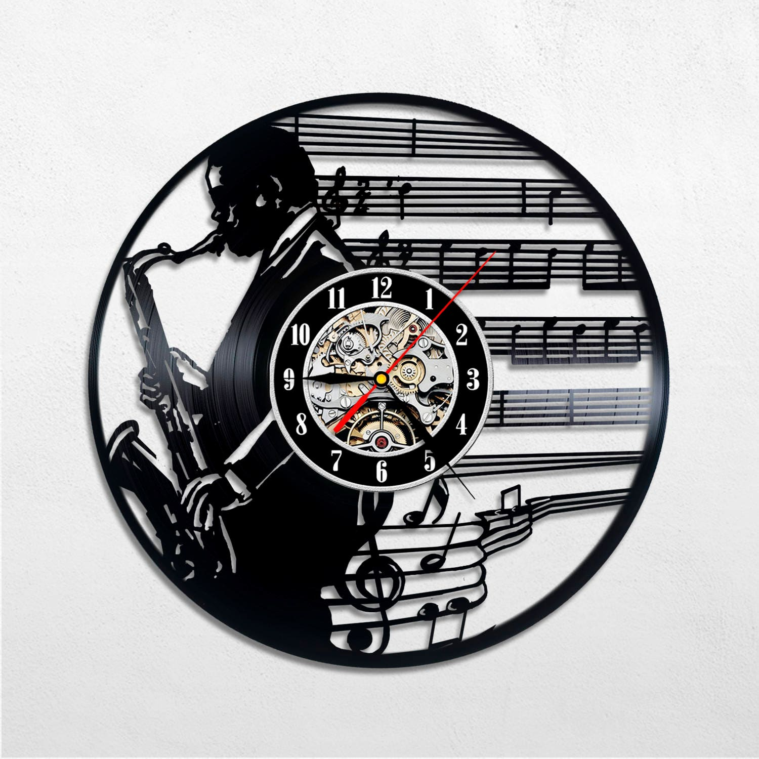 Jazz Art Wall Clock Decor Gifts Music Men Home Musician Party Singer