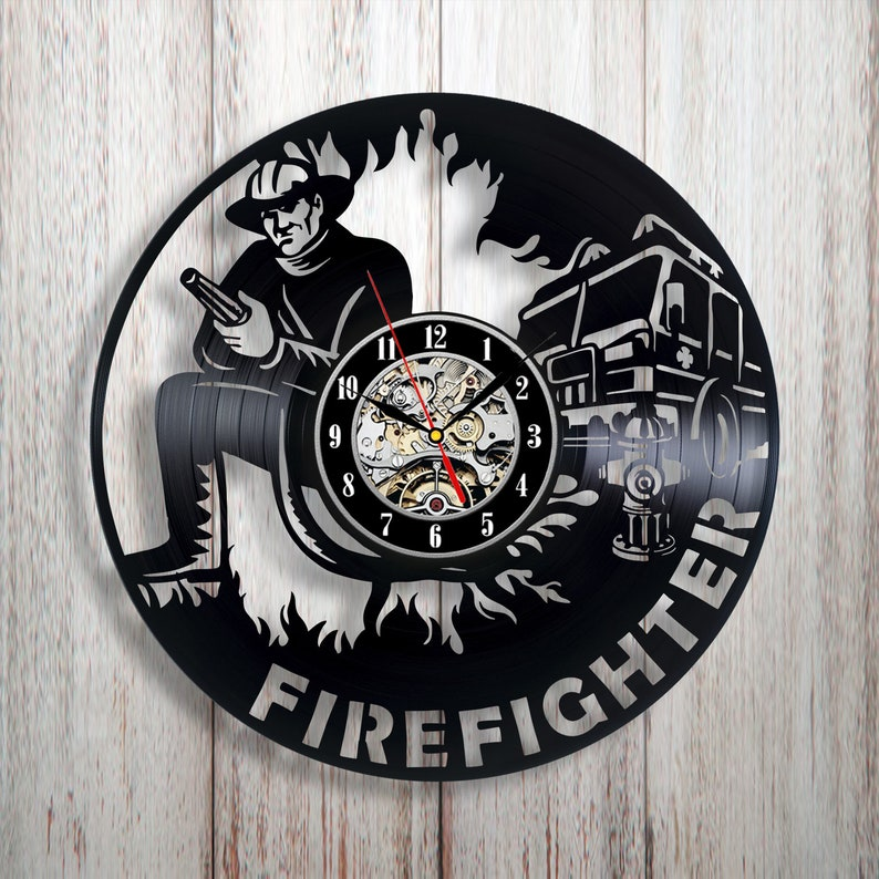 Firefighter Decor Vinyl Wall Clock Home