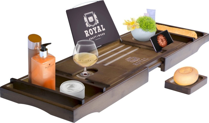 Royal Craft Wood Luxury Bamboo Bathtub Caddy Tray with Book and Wine Holder ...