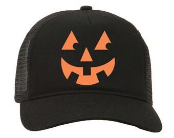 ac61bb6dfa4c9 Halloween Hat  Halloween Party Hat  Truckers Hat  Party Hat  Pumpkin Face  Hat  Jack O Lantern Hat