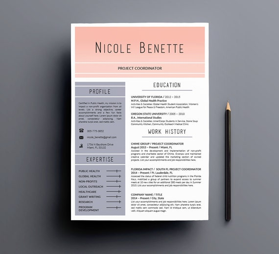 colorful resume template cv template for word fully etsy