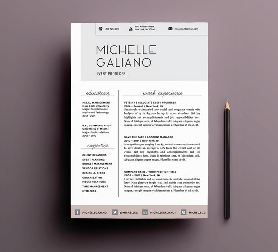 Cv Curriculum Vitae Moderno Elegante Plantilla Para Word Etsy