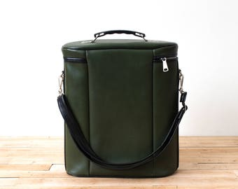 Retro Uno-Vac Lunchbox, Thermos Picnic Set, Green Leather Case