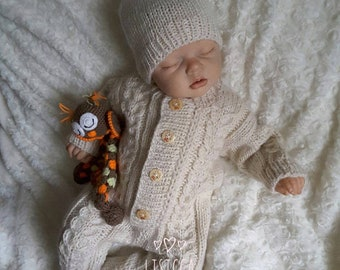 7d107a8f1b5 Baby knitted natural color jumpsuit Knitted baby clothes Baby knit romper  Hand knitted baby set Newborn coverall Natural color baby romper