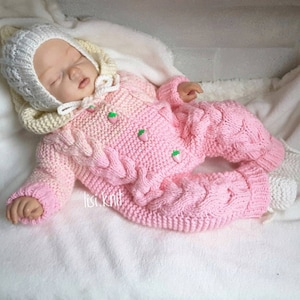 Hand knitted baby romperall-in-one knitted in soft DK in lemonorange with beanie hat and bootees to fit small baby or reborn 19-20