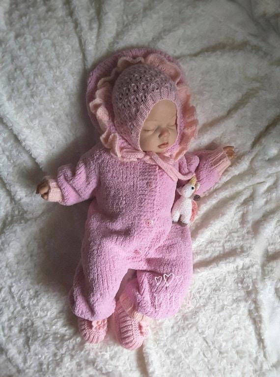 Von Hand gestrickte Baby rosa Strampler Hand stricken   Etsy