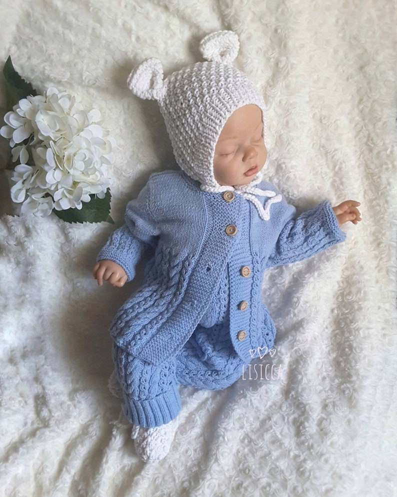 9eedc9d5393b8 Hand Knit Baby Set Newborn outfit Baby knitted clothes Knitted bonnet Baby  Shower Boy Gift Newborn Coming Home Outfit Baby boy Items