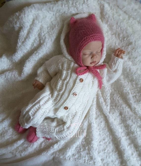 Baby gestrickt weißen Overall Strick-Baby-Kleidung die Baby   Etsy
