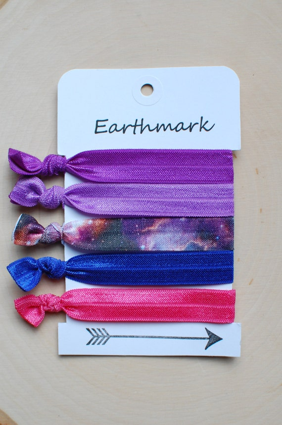 Galaxy Eclipse 5 Pack Fold Over Elastic Hair Ties Foe Etsy