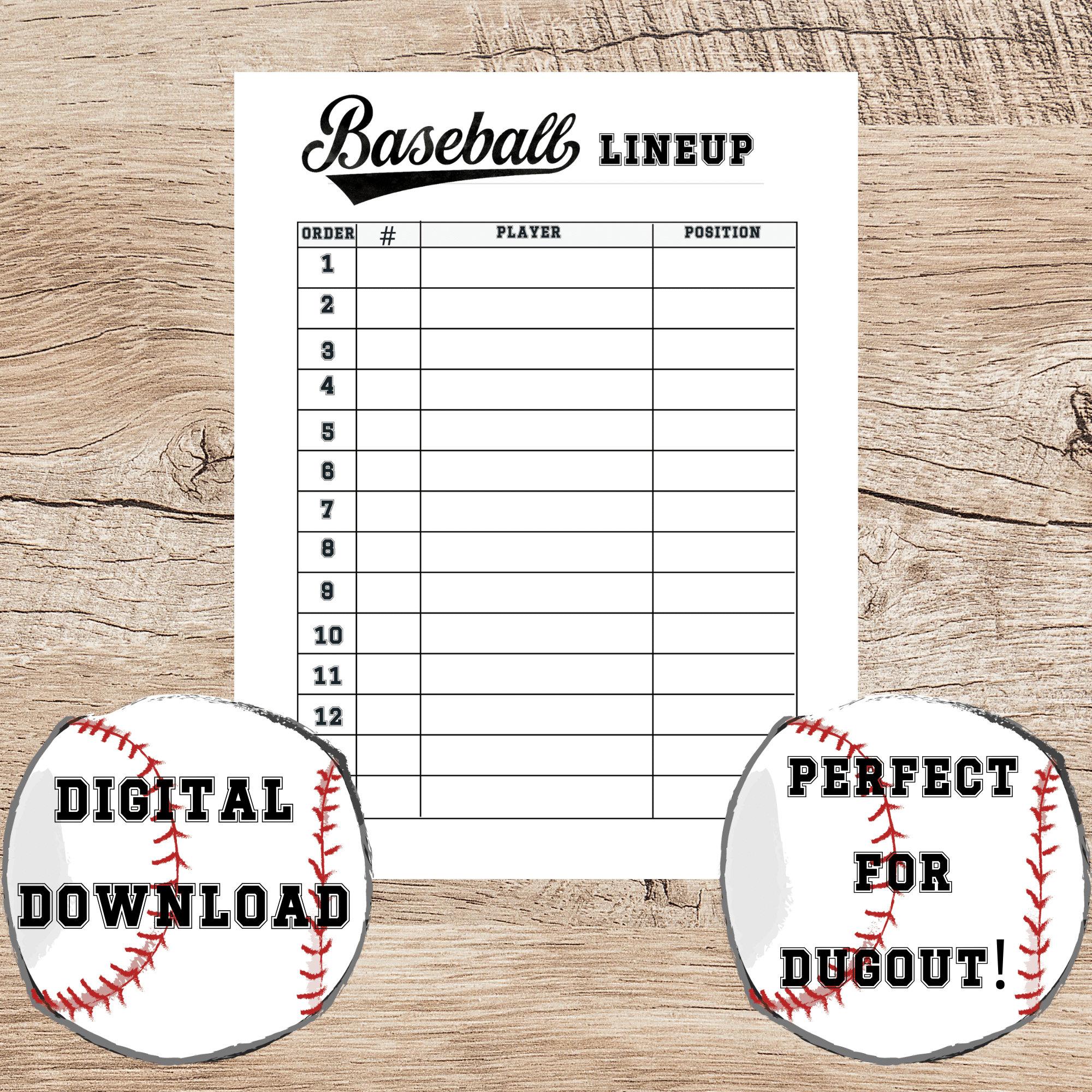 Baseball Lineup Printable, Team Organizer, Tee Ball Roster Chart, 22 player  list for Dugout, Batting Lineup, Baseball Dugout List Throughout Baseball Lineup Card Template