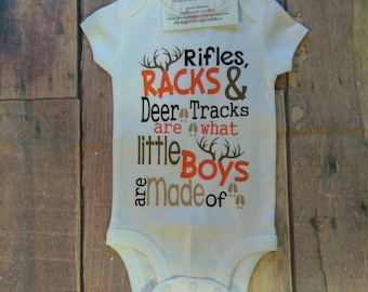 688fa5fc8091f Rifles Racks and Deer Tracks Are What Little Boys Are Made Of Shirt Infant  Toddler Kids Deer Shirt Boys Shirt Toddler T-Shirt Children's Top