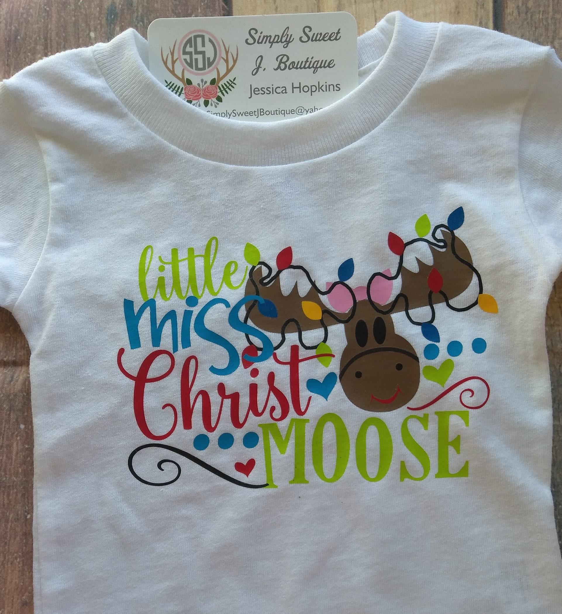 3668e0271906 Little Miss Christmas MOOSE Girls Christmas Shirt Girl Toddler | Etsy