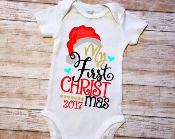 My 1st Christmas Santa Claus Black Bodysuit Red Leopard Girls Baby Dress NB-18M