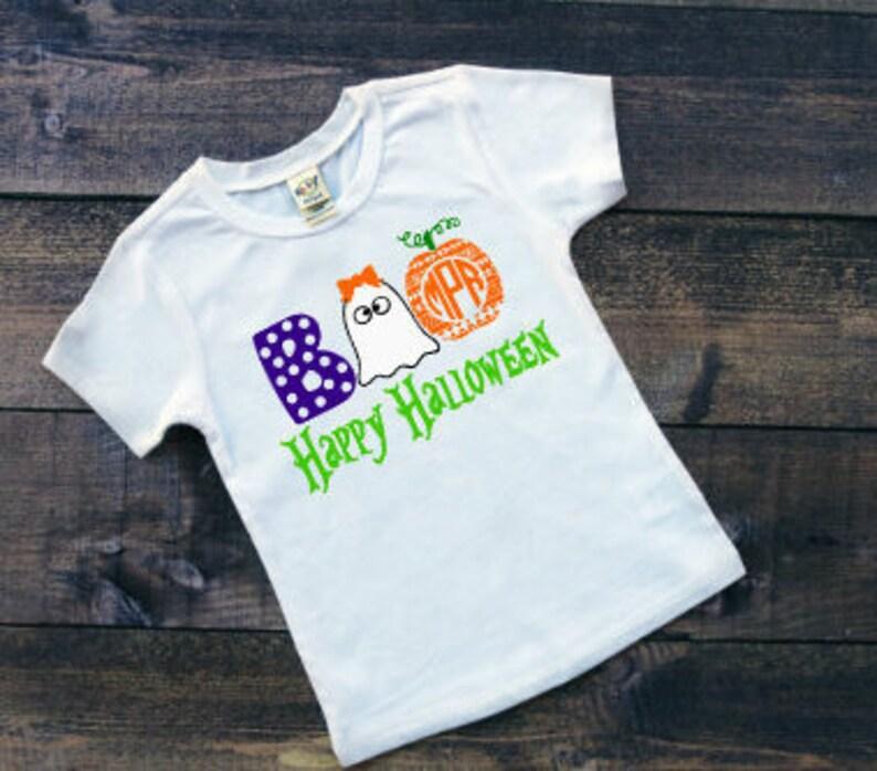 978c6168 Personalized Kids Halloween Shirt Monogram Halloween Tee Girls | Etsy