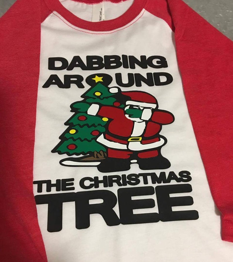 b7d04fa6 Dabbing Around The Christmas Tree Baseball Raglan Boy's | Etsy