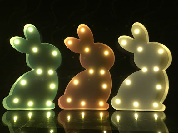 """9/"""" White Metal Light Up Happy Easter Bunny//Rabbit Nursery Light Battery Operated"""
