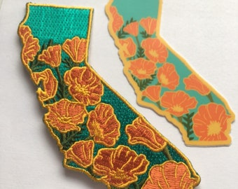 PRE-ORDER: California Poppy Embroidered Patch - Iron On Patches State Flower Series Poppies CA