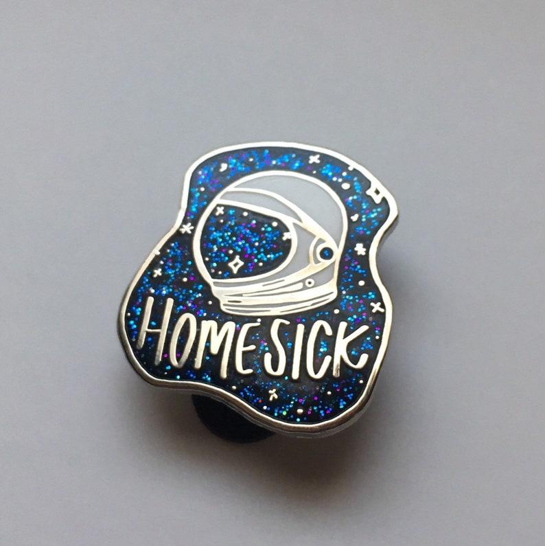 Homesick BLUE GLITTER Space Pin Enamel Pin Galaxy Astronaut Silver Black  White Flair Space Camp Fall Out Boy Pingame Lapel Pin spar