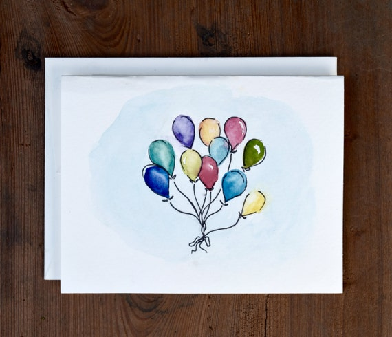 Watercolor greeting cards set of 5 balloon painting blank etsy image 0 m4hsunfo
