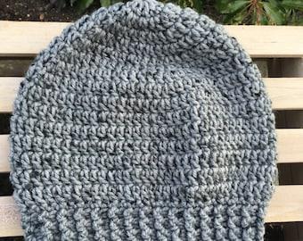 Gray Simple Slouch Handmade Crochet Hat Toddler Child Teen Adult
