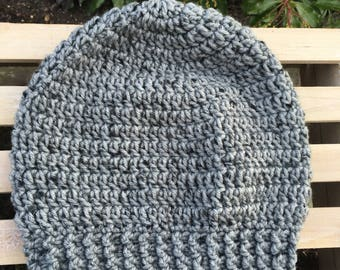 READY TO SHIP Child Size Gray Simple Slouch Handmade Crochet Hat
