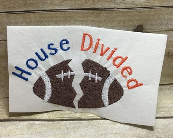House Divided Embroidery Design, Football Teams Embroidery Design