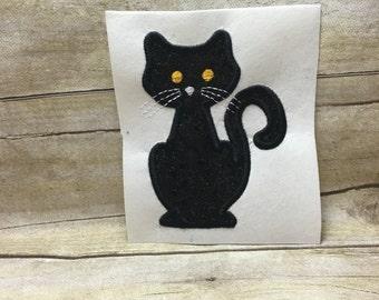 Cat Applique, Halloween Cat Embroidery Design Applique, Halloween Cat Applique, Black Cat Applique