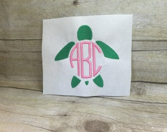 Turtle Monnogram Embroidery Design, Turtle Embroidery Design