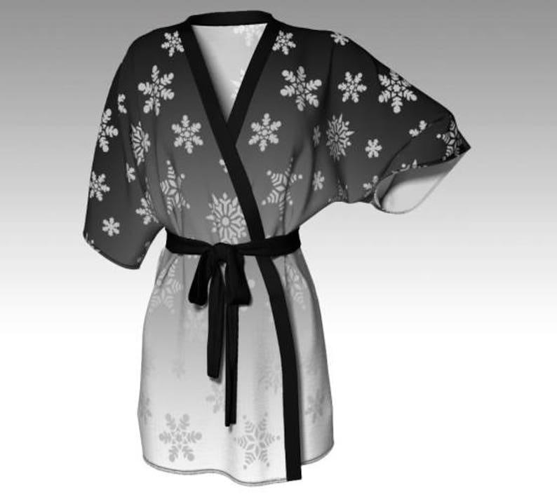 3abac228daadd Snowflake Kimono Kimono Robe Draped Kimono Dressing Gown | Etsy