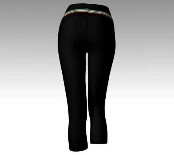 e84b7d1342ec7 Striped Leggings Striped Tights Striped Capris Black | Etsy